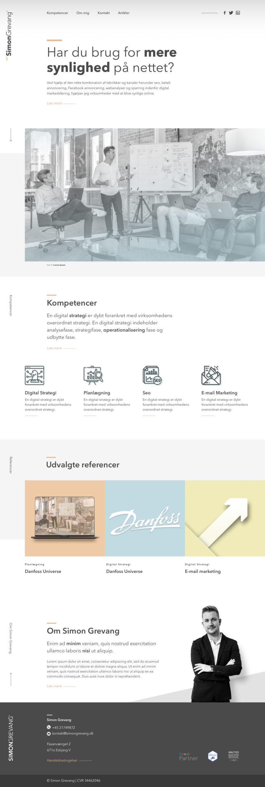 hjemmeside design af forside